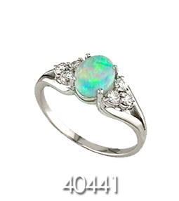 Silver Ring with Colorful Stone and Diamonds